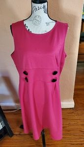 Fuschia pink with black buttons